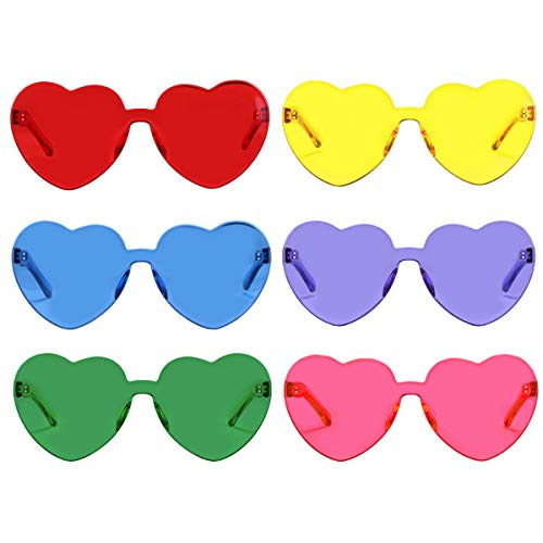 One Piece Heart Shaped Rimless Sunglasses Transparent Candy Color Eyewear(6 Color) ()
