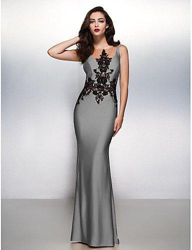 Noche Barrer Lazo Tren Silver amp;OB Apliques De Cepillo Formal Vestido Gala Sirena Prom HY Boca Trompeta Negro Con Jersey Cuello 7Xqv71w