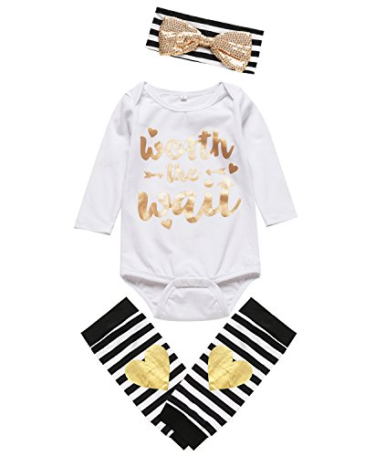 Halloween Graphic Sleep Sets For Baby (Paddy Field 3PCS Outfit Set Worth The Wait Baby Girls Cute Romper (0-3 Months, White))