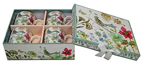 Lightahead Elegant Bone China Coffee Mug set of 4 cup in Blue Bird Design 8.5 oz each in attractive gift box
