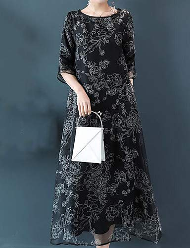 Chic Di Chinoiserie Plaid Shino Dress Floreale Da Donna Black Yfltz ERvqw