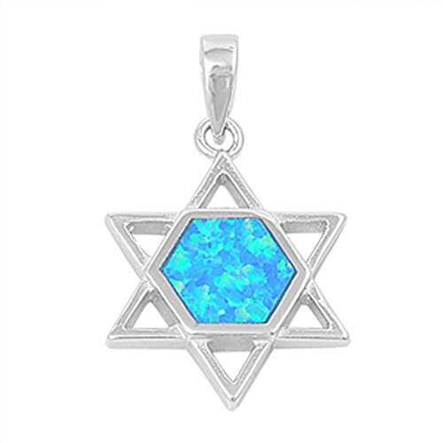 Star of David Pendant Blue Simulated Opal .925 Sterling Silver Charm - Silver Jewelry Accessories Key Chain Bracelet Necklace ()