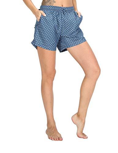 WEWINK CUKOO Soft Denim Cotton Women Pajama Capri Lounge Pants with Pockets (Dots Shorts, M=US 8-10)