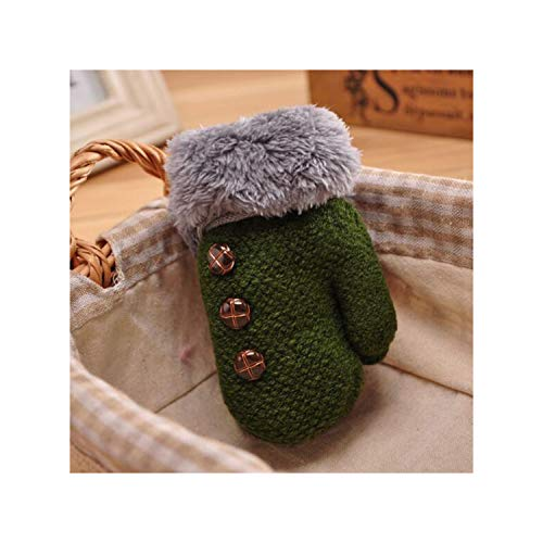 Lovely Winter Knitting Button Mittens Double Thickening Warm Kids Gloves Plush Cuffs Fur Wool Gloves,Green,3-7 Years Old (Iv Adult Batting Gloves)
