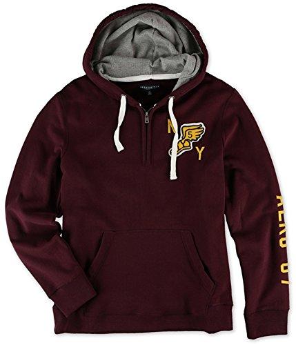 Aeropostale Mens Quarter Zip NY 5 Hoodie Sweatshirt, Red, - Aeropostale Zip