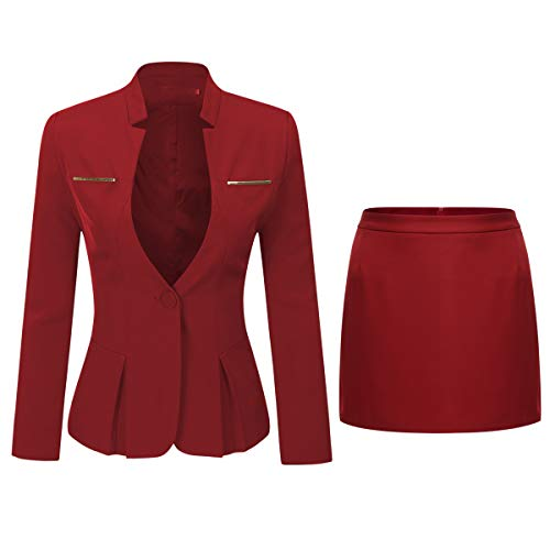 Women's 2 Piece Business Skirt Suit Set Office Lady Slim Fit Blazer and Skirt 2 Piece Skirt Jacket