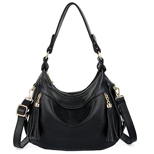 Women Shoulder Purse Handbag Style Leather Black Bag Hobo Purple UTO PU 6P7pRqCwq