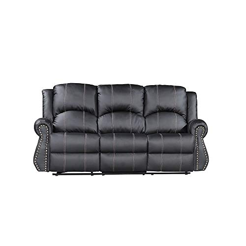 Mecor Bonded Leather 3 Seats Recliner Gold Thread Reclining Sofa Living Room Furniture 3 Seat, Black