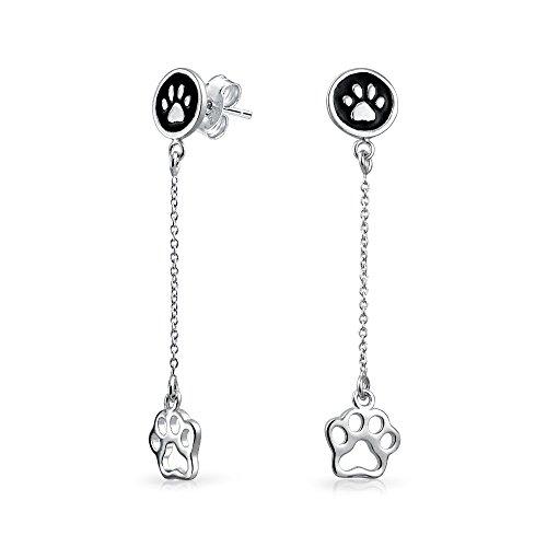 Paw Print Enamel (Bling Jewelry 925 Silver Black Enamel Paw Print Animal Dangle Earrings )