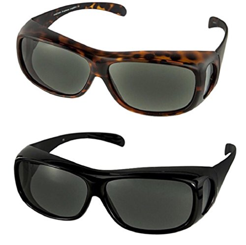 Polarized Fit Over Sunglasses Wear Over Cover Over Prescription Glasses, Size Large Slim, Tortoise and Black Grey (2 Carrying Case - Shell Tortoise Big Glasses