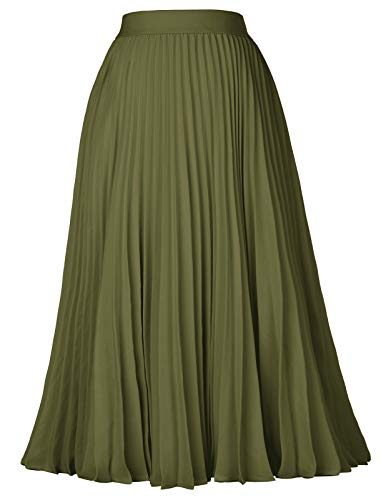 Casual Pleated Midi Skirt for T-Shirt Top Army Green Size XL KK659-6