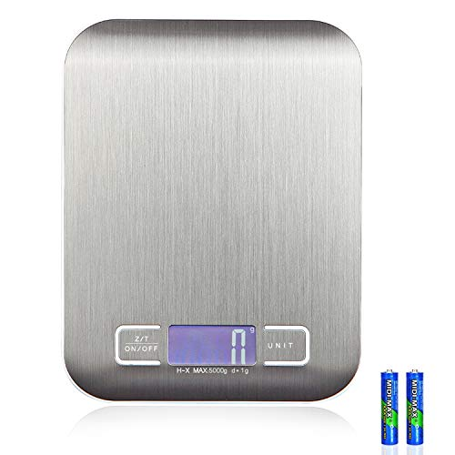EGOO&YAMEE Digital Kitchen Scale Multifunction Food Scale with LCD Display for Baking Kitchen Cooking, 5kg/11lb Capacity by 0.1oz, Anti-Fingerprint Stainless Steel Brushed Platform, Silver