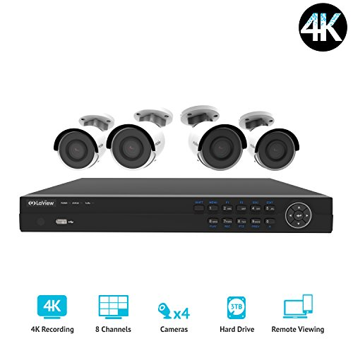 LaView 8 channel 4K home security system with 4 8MP 4K Bullet Cameras, 3TB Storage - Outdoor weatherprood IP Poe Surveillance cameras, 100ft Night Vision - LV-KNG96084G8-T3 ()