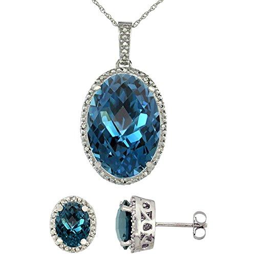 Or blanc 9Ct Topaze Bleu Londres naturel ovale boucles d'oreilles et pendentif Set Accents de diamant