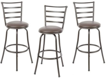 Amazon Com Mainstays Adjustable Height Swivel Barstool Hammered Bronze Finish Set Of 3 Brown Furniture Decor