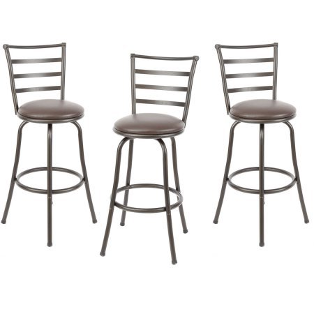 Mainstays Adjustable-Height Swivel Barstool, Hammered Bronze Finish, Set of 3 – Brown