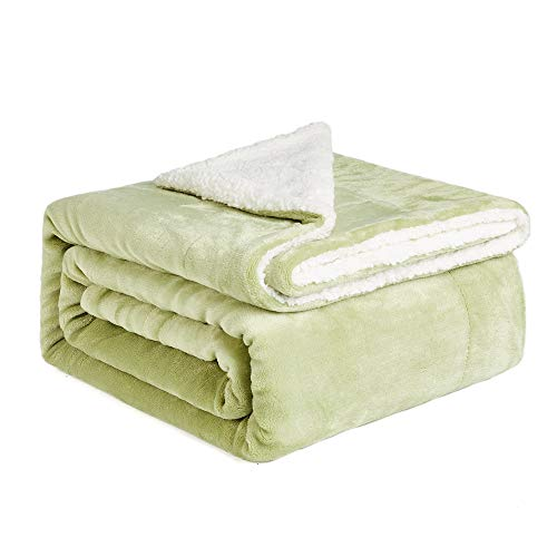 NEWSHONE Sherpa Throw Blanket - Twin Size Reversible Fuzzy Blankets Luxury Fluffy Blanket for Bed Couch(50x 60 inches, Sage Green) - Green Reversible Blanket