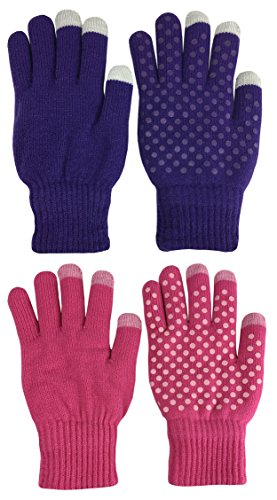 N'Ice Caps Kids Warm Plush Lined Knit Touchscreen Gloves - 2 Pair Pack (6-8 Years, Fuchsia / (Knit Gripper Glove)
