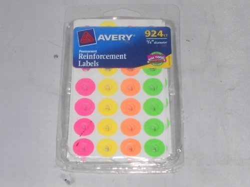(aVERY 924 COUNT 1/4 DIAMITER REINFORCEMENT COLORED LABELS: Permenant Adhesive Sticks & Stays, and Fits Standard Size Punched Holes,)