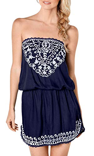 Upopby Women's Sexy Summer Beach Cover Up Dress Strapless Mini Dresses Printed Tube Top Dresses Plus Size Navy Blue S