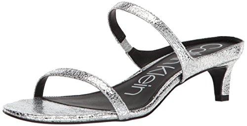 Calvin Klein Women's Domenica Sandal, Cracked Metallic/Silver, 9 Medium US
