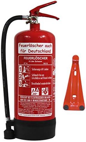 NEU 6 L Schaum Feuerlöscher Brandklasse AB Bio DIN EN3, GS + Wandhalter + Manometer + Standfuß, 27 A, 183 B, 9 LE Schaumlöscher, Gewerbe, Industrie, Haushalt, Gastro, Hotel, Büro, Betrieb, Grill