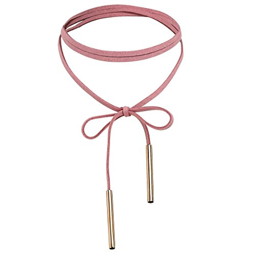 Gnzoe Long Velvet Bolo Tie Lariat Choker Necklace with Stretch Chain Tassel Necklaces for Women