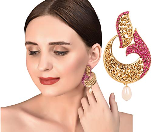 Designer Indian Earrings (Touchstone Indian bollywood white fuchsia fish designer jewelry earrings in antique gold tone for women)