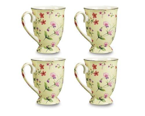 Gracie Bone China Sweet Pea 9-Ounce Footed Mug, Yellow Floral, Set of 4
