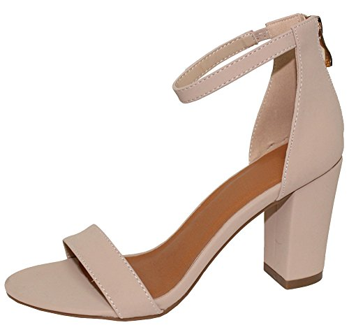 54b05ba520b Cambridge Select Women s Open Toe Single Band Stretch Ankle Strappy Chunky  Stacked Block Heel Sandal