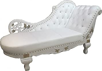 Casa-Padrino Baroque chaise White/Gold / Real Leather Chaise ...