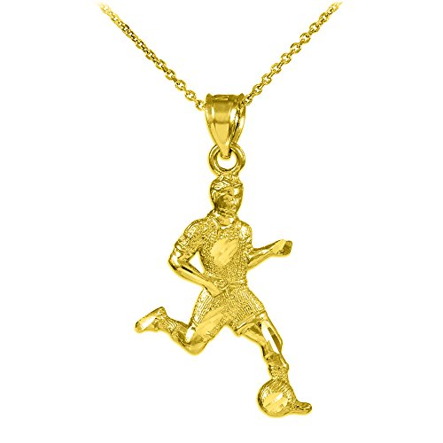 "14k Yellow Gold Soccer Player Futbol Sports Charm Pendant Necklace, 22"""