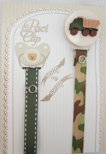 crystal-dream-elegant-army-green-truck-stylish-baby-boy-pacifier-clip-accented-with-2-matching-ribbo