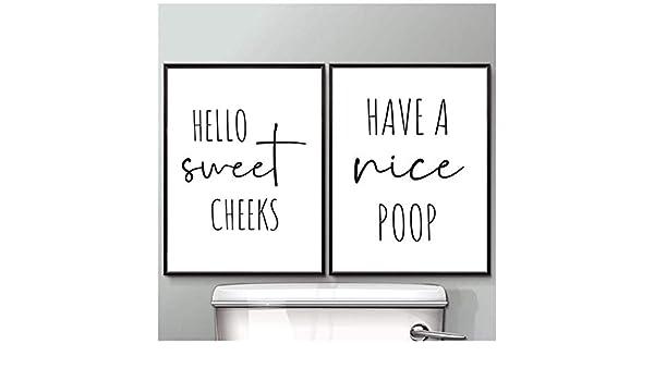chaoaihekele Imágenes de Arte de Pared de baño Pintura de Lienzo Carteles e Impresiones Minimalistas Tienen una Bonita Caca Impresión de Inodoro Decoración de Pared de baño 40x60cmx2 (sin Marco): Amazon.es: Hogar