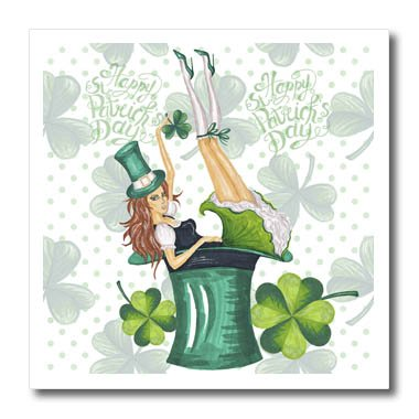 3dRose Uta Naumann Sayings and Typography - Happy St Patricks Day-Girl with Clover Shamrock - Irish Motivational - 8x8 Iron on Heat Transfer for White Material -