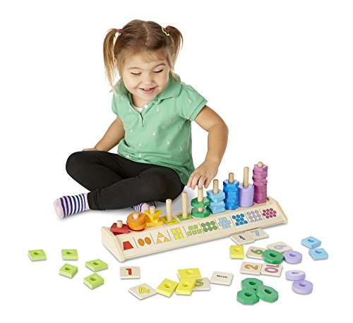 Melissa & Doug Counting Shape Stacker (Wooden Educational Toy with 55 Shapes and 10 Number Tiles, Great Gift for Girls and Boys - Best for 2, 3, 4, 5 and 6 Year Olds)
