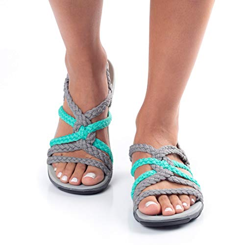 Pictures of Plaka Hiking SandalsWomen Urban Gray Turquoise Size 6