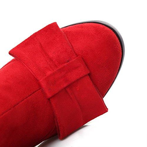 AllhqFashion Damen Reißverschluss Rund Zehe Hoher Absatz Niedrig-Spitze Stiefel Rot
