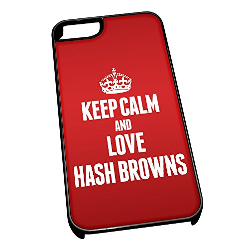 Nero cover per iPhone 5/5S 1163Red Keep Calm and Love Hash Browns