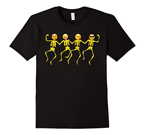 Men's Emoji T Shirt Halloween Dancing Skeletons  Large Black -