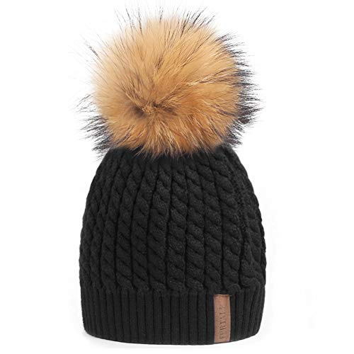 Winter Knit Beanie Hats for Women FURTALK Warm Fur Bobble Pom Pom ()