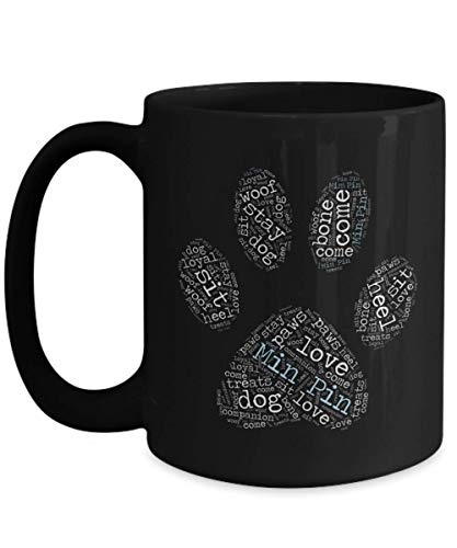 Min Pin Coffee Mug Black cup tea I Love my Dog Lover Gift Idea AKC Paw Print Men Women Miniature Pinscher