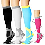 Laite Hebe Compression Socks,(3 Pairs) Compression Sock for Women & Men - Best for Running, Athletic Sports, Crossfit, Flight Travel(Multti-colors11-S/M)
