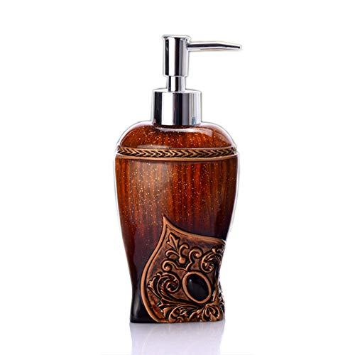 AOMOM Soap Dispenser for Bathroom with Pump - Resin Farmhouse Kitchen Decor, Lotion Bottle for Dish Soap, Hand Soap, Massage Oil Liquid, Mouthwash or Shampoo (Coffee)