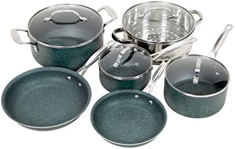 OrGREENiC Diamond Granite 10 Piece ALL in One Cookware Set with Non-stick Ceramic Coating, Included Fry Skillet, Saute Pans, Stock Pot Glass Lids Steamer Insert Saucepan 10 Piece Set, All in One