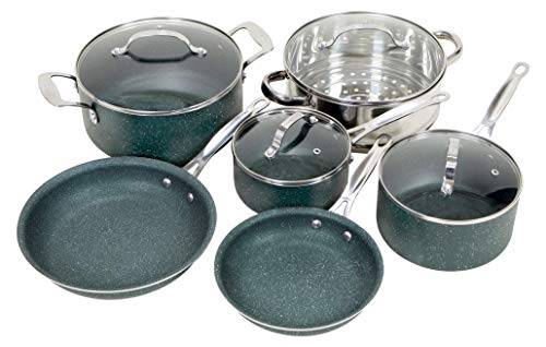 OrGREENiC Diamond Granite 10 Piece ALL in One Cookware Set with Non-stick Ceramic Coating, Included Fry Skillet, Saute Pans, Stock Pot Glass Lids & Steamer Insert Saucepan (10 Piece Set, All in One)