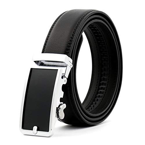 (KHC Men's Belt 100% Leather Belt Ratchet Automatic Adjustable Buckle)