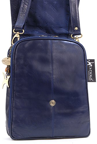 el la A4 CITY bandolera Cuero CATWALK para Apto para Bolso trabajo y ciudad documentos Azul Ideal COLLECTION RvnpqO