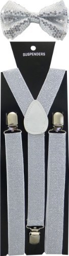 Nice Shades Combo Pack Suspenders & Bow Ties (Many Colors Available) (Silver