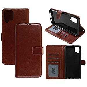 Amazon Brand – Solimo Flip Leather Mobile Cover (Soft & Flexible Back case) for Samsung Galaxy M12 (Brown)